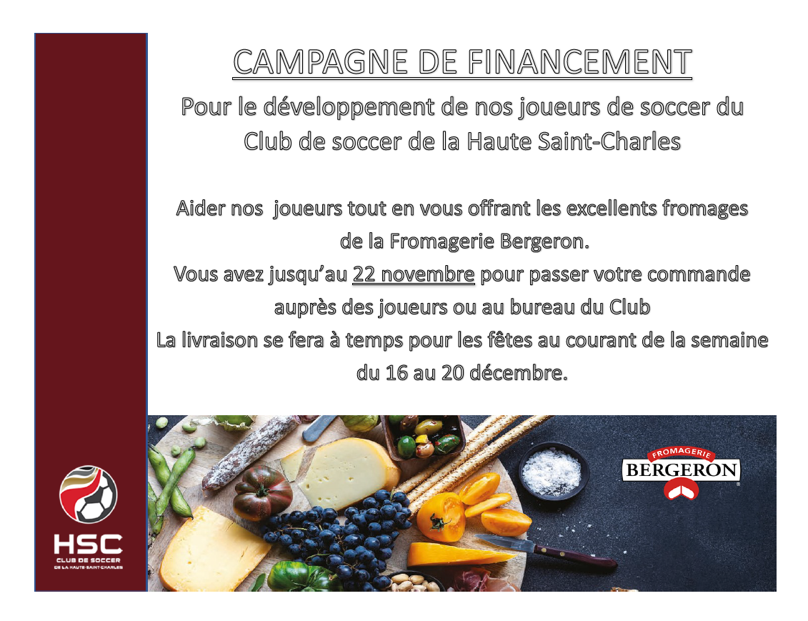 Campagne de financement Fromage Bergeron